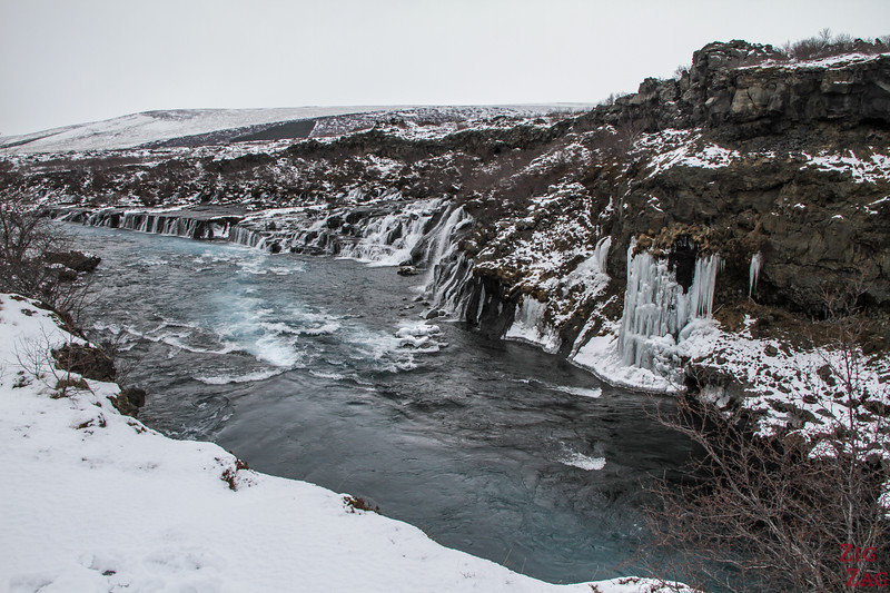 waterfall of Hraunfossar in Winter, Iceland 3