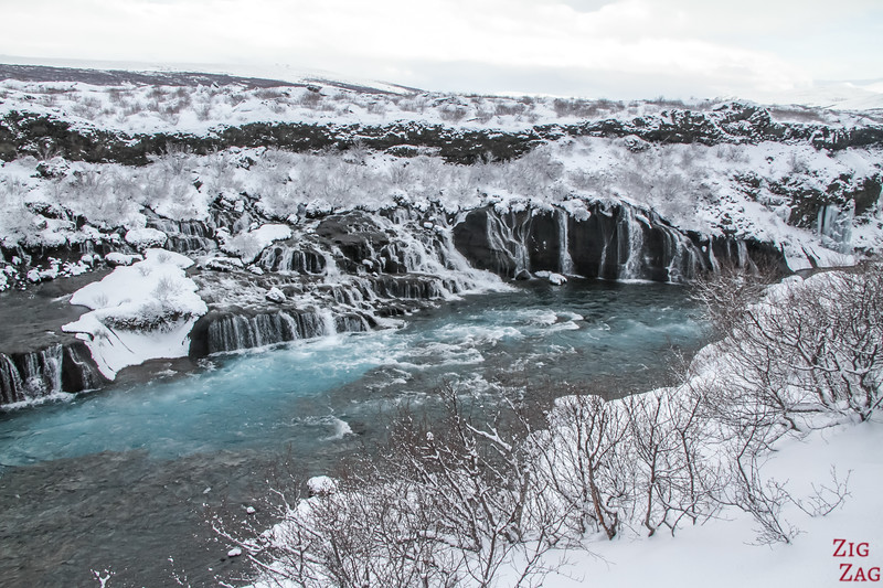 Iceland Winter Highlights - Hraunfossar waterfall