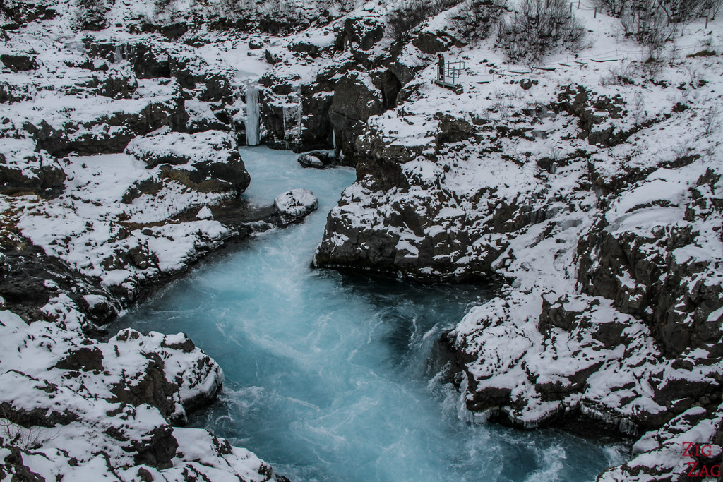 Fluss Hvita Winter 2