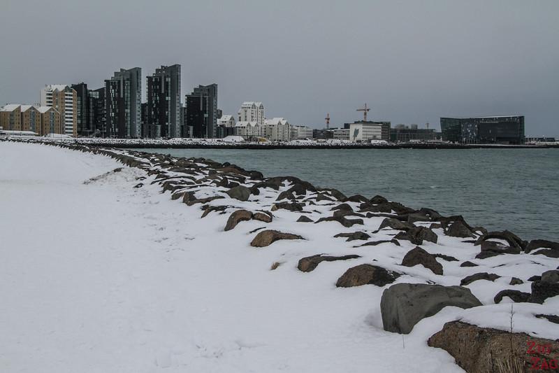 Seafront in Reykjavik in Winter