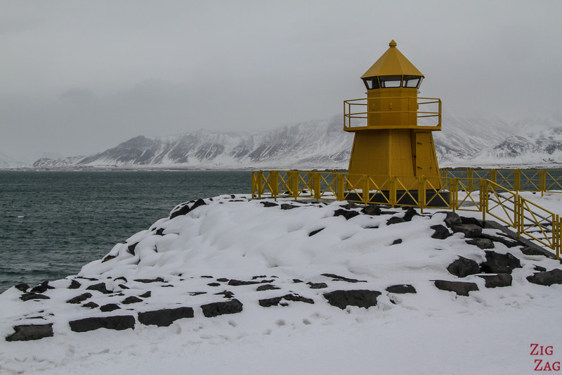 yellow lighthouse in Reykjavik in Winter