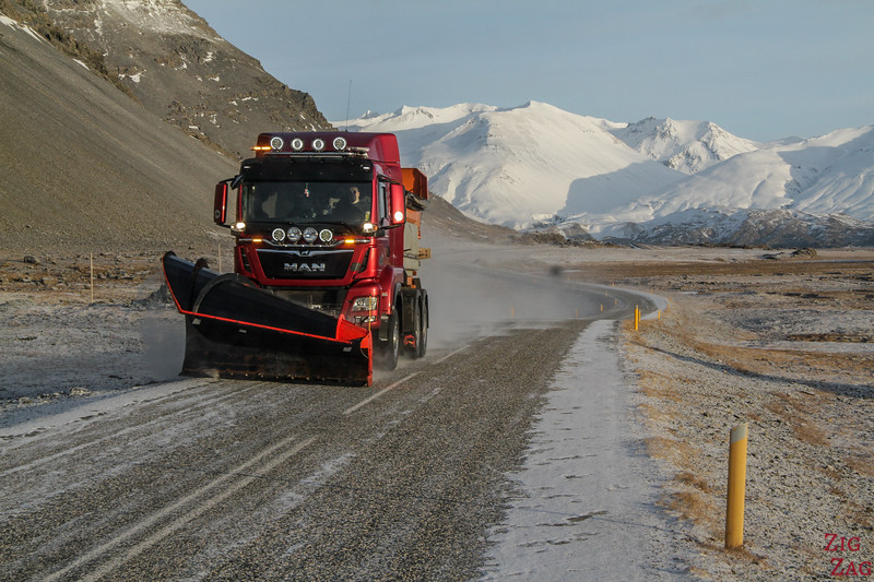 Iceland Winter driving conditions - snow clearing 2