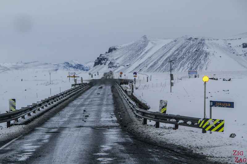 One lane bridge in Iceland in Winter