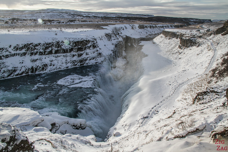 Gullfoss waterfall in Winter 2