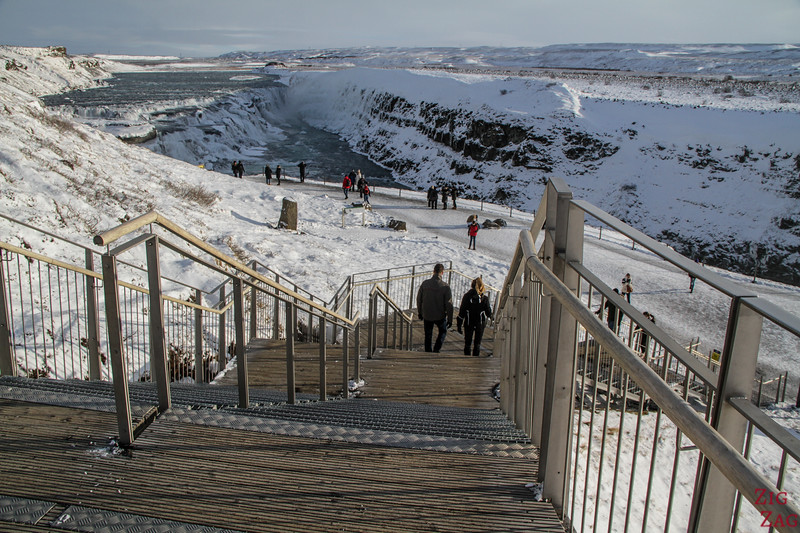 Gullfoss waterfall in Winter - lower carpark staircase