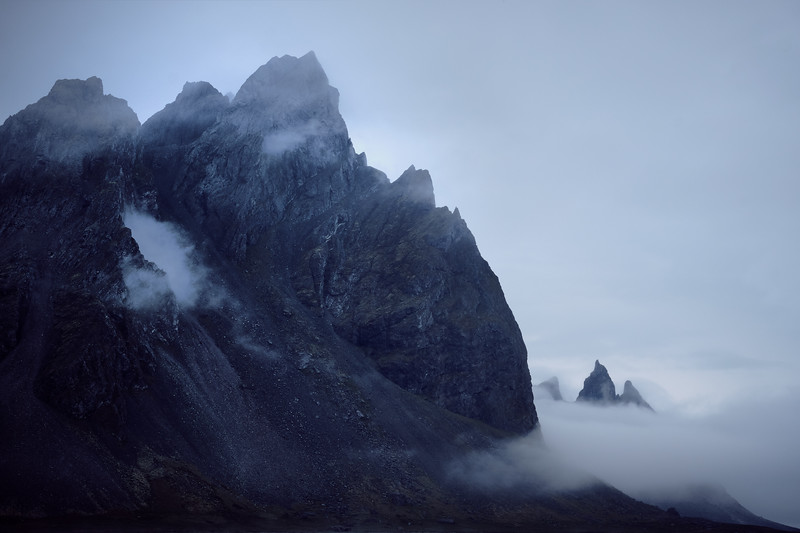 Mist around vestrahorn at midnight