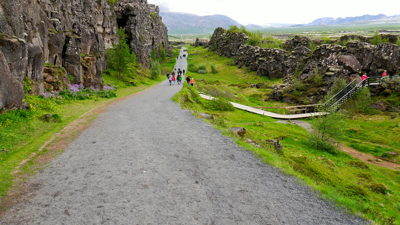 """Iceland, June 2014, Overseas Adventure Travel (OAT) trip.<br /> Thingvellir National Park.  A site of historical, cultural, and geological importance and is one of the most popular tourist destinations in Iceland.  It is also the location of a major rift beteen two tectonic plates, the European and North American, which creates a dramatic (and growing) fissure in the land.  The Althing (General Assembly) was established here in 930 and continued meeting for more than 850 years until 1798.  For more info:<br />  <a href=""""http://www.thingsites.com/thing-site-profiles/thingvellir-iceland"""">http://www.thingsites.com/thing-site-profiles/thingvellir-iceland</a>     <br />  <a href=""""http://en.wikipedia.org/wiki/%C3%9Eingvellir"""">http://en.wikipedia.org/wiki/%C3%9Eingvellir</a>"""
