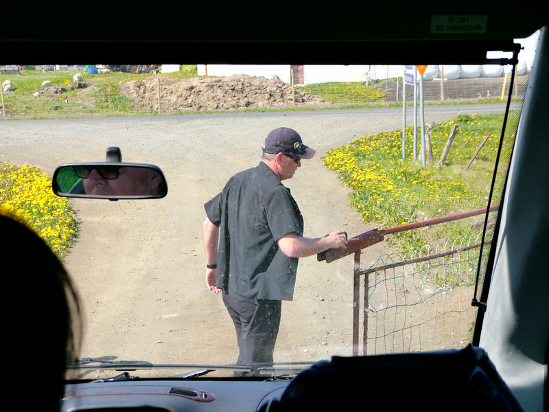 Iceland, June 2014, Overseas Adventure Travel (OAT) trip.<br /> Getting back out to the main highway a gate has to be opened and our Guide, Beggi, does the honors.