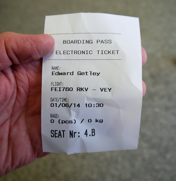 Iceland (Westman Island), June 2014, Overseas Adventure Travel (OAT) trip.<br /> Boarding Pass for the short flight over to Westman Islands.