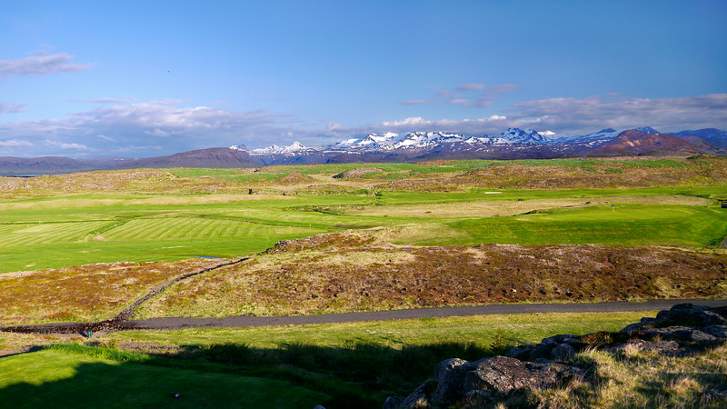 Iceland, June 2014, Overseas Adventure Travel (OAT) trip.<br /> Just outside of our hotel, Hotel Stykkisholmur on the Snaefellsnes peninsula, there is a small hill that I climbed for a nice view.  You can also see part of the golf course.