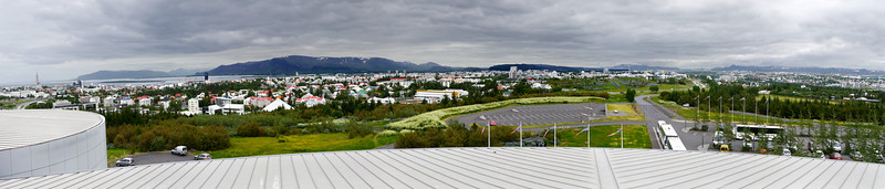 Iceland, June 2014, Overseas Adventure Travel (OAT) trip.  <br /> Perlan (The Pearl) is a landmark building in Reykjavík. It is a glass dome structure set on six hot water storage tanks on top of the Öskjuhlíð hill overlooking Reykjavik.  The hot water storage tanks have been there for decades.  In 1991 the tanks were updated and the hemispherical structure placed on top. It houses a revolving restaurant plus a cafeteria, souvenir shop, and open space for exhibitions and concerts.  There is a large outdoor observation deck- where I took these pictures.