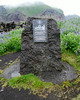 Iceland (Westman Island), June 2014, Overseas Adventure Travel (OAT) trip.<br /> A monument to where the Kiwanis Club building is buried beneath the lava and ash from the 1973 volcano.