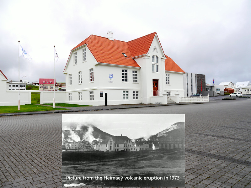 Iceland (Westman Island), June 2014, Overseas Adventure Travel (OAT) trip.<br /> In these images you can see how this building looked back when the volcano erupted in 1973 and how it looks now.