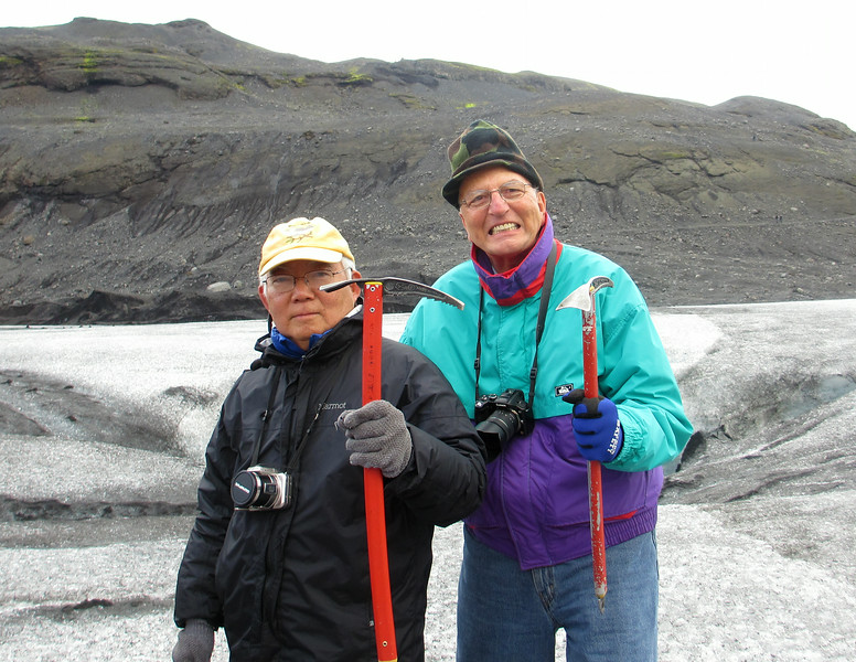 This image was taken by Mel Yokoyama and graciously provided to me.  <br /> Mel and yours truly on the glacier with our Italian Pickaxes, ready for anything.  Grrrrr......<br /> Iceland, OAT, June 2014.