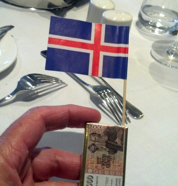 Iceland, June 2014, Overseas Adventure Travel (OAT) trip.  <br /> A peice of chocolate with an Icelandic flag given to us by our Guide at our Farewell Dinner.
