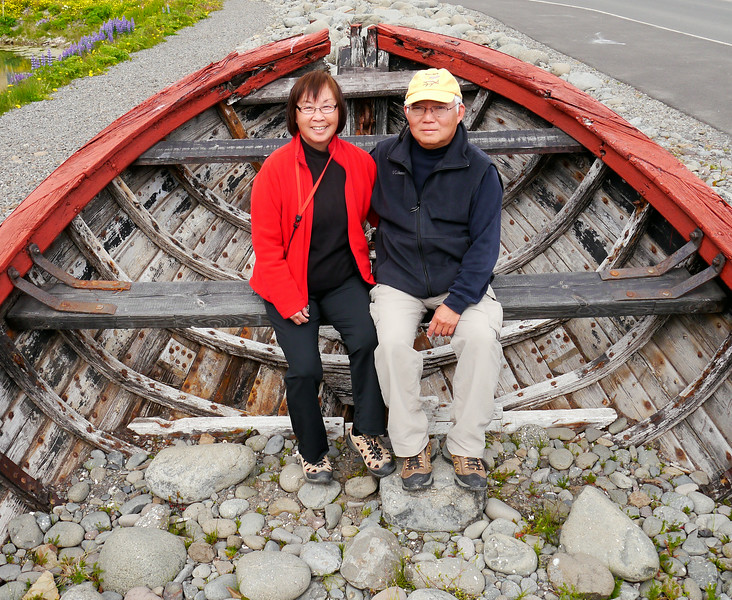 """Iceland, June 2014, Overseas Adventure Travel (OAT) trip.<br /> Anna & Mel.  Siglufjörður. This is Iceland's nothernmost town.  It grew up around the herring industry that flourished in the 1940s and 1950s, but the herring are gone now.  We have a wonderful lunch at the """"Hannes Boy"""" restaurant and then tour the Herring Museum and walk around the small town."""