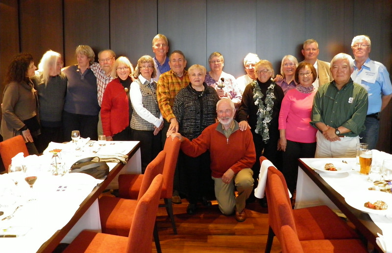 This image was graciously provided to me by Mel Yokoyama.  <br /> Group shot at our Farewell dinner.  Iceland, OAT, June 2014.