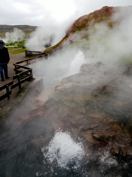 Iceland, June 2014, Overseas Adventure Travel (OAT) trip.<br /> Deildartunguhver is a hotspring in Reykholtsdalur, Iceland. It is characterized by a very high flow rate for a hot spring (180 liters/48 gal per second) and water emerges at 97 °C(207F). It is the highest-flow hot spring in Europe.  Some of the water is used for heating, being piped 34 kilometers to Borgarnes and 64 kilometers to Akranes.