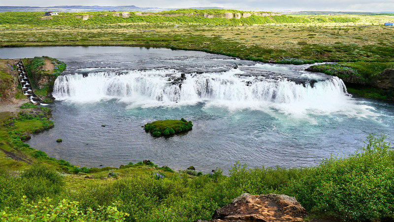 Iceland, June 2014, Overseas Adventure Travel (OAT) trip.  <br /> The Faxi (or Vatnsleysufoss) waterfall is located on a popular tourist trail east of Reykjavik. The waterfall is located on the Tungufljót river.