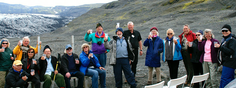 This image was taken with Risa's camera and Risa and graciously provided it to me.  <br /> This is our OAT group having a vodka on the rocks (the rocks being actual glacier ice in our glasses).  <br /> Iceland, OAT, June 2014.