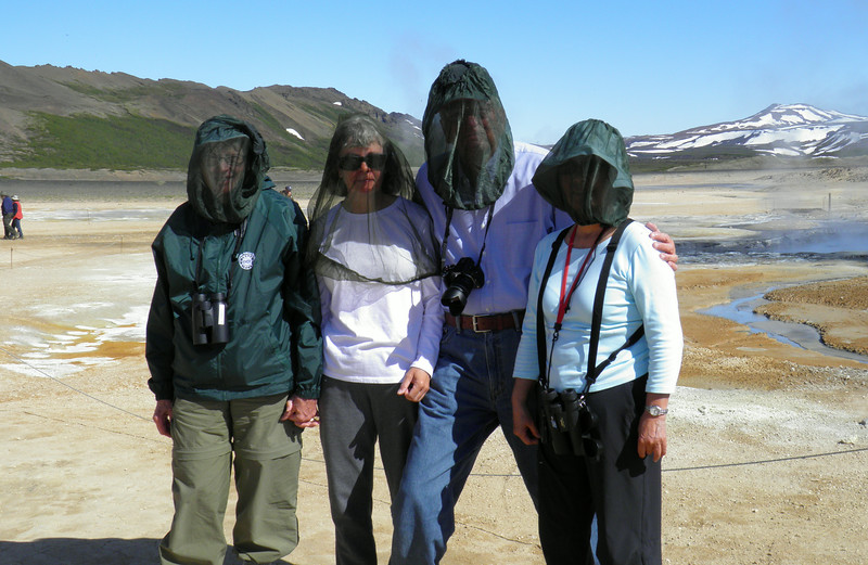 This image was taken by Mel Yokoyama and graciously provided to me.  <br /> Looks like Harriet, Kathleen, Me, and Anna with our midge nets.  Iceland, OAT, June 2014.
