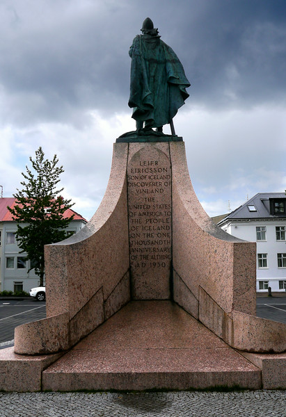 Iceland, June 2014, Overseas Adventure Travel (OAT) trip.  Reykjavik.<br /> This monument is out in front of Hallgrímskirkja church.  You can read the inscription.