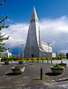 Iceland, June 2014, Overseas Adventure Travel (OAT) trip.<br /> Hallgrímskirkja (Icelandic pronunciation: [ˈhatlkrimsˌcʰɪrca], church of Hallgrímur) is a Lutheran (Church of Iceland) parish church in Reykjavík, Iceland. At 73 metres (244 ft), it is the largest church in Iceland and the sixth tallest architectural structure in Iceland.  There is an observation deck near the top.