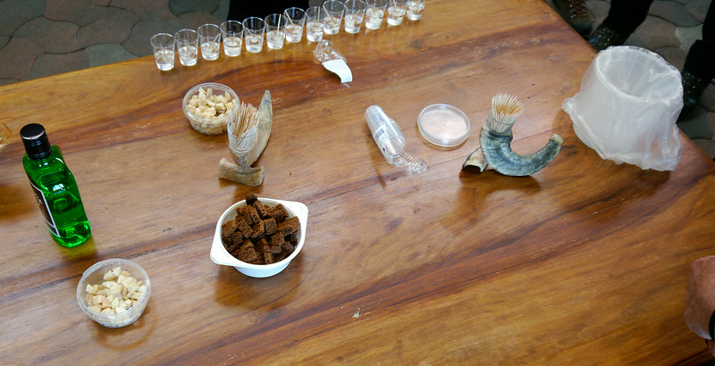 """Iceland, June 2014, Overseas Adventure Travel (OAT) trip.<br /> Here we have everything set up for our tasting: each cube is on a toothpick and itting in a small glass of Brennivin (an Icelandic spirit).  There are some small peices of bread to go with it.  I tried it ind it was not bad- I didn't chew it much and the alcohol helped.  We said the same thing.<br /> Hákarl or kæstur hákarl (Icelandic pronunciation: [ˈhauːkʰadl̥]) (Icelandic for """"shark"""") is a food from Iceland consisting of a Greenland shark or sleeper shark (Somniosus microcephalus) which has been cured with a particular fermentation process and hung to dry for four to five months. Hákarl is an acquired taste.  It has a very particular ammonia-rich smell and fishy taste.  Hákarl is served as part of a þorramatur, a selection of traditional Icelandic food served at þorrablót in midwinter. It is readily available in Icelandic stores and is eaten year round."""