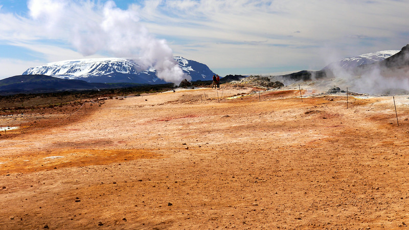 Iceland, June 2014, Overseas Adventure Travel (OAT) trip.<br /> Namafjall Hverir (Namafjall geysers/hot springs).  There are also a number of fumaroles, mud pools and mud pots.  This field is one of the largest in Iceland.