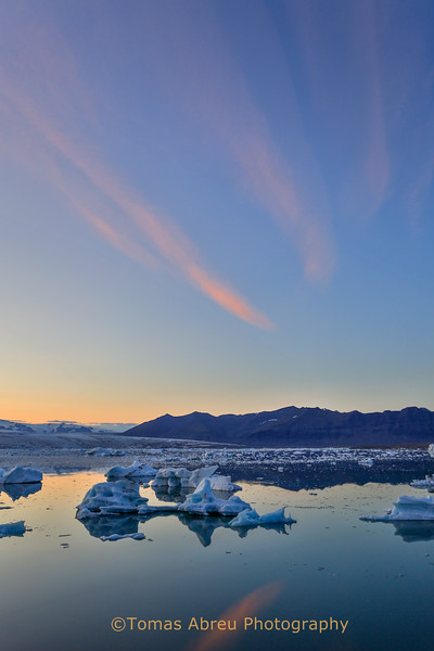 Sunset at Jokulsarlon Ice Lagoon, Iceland