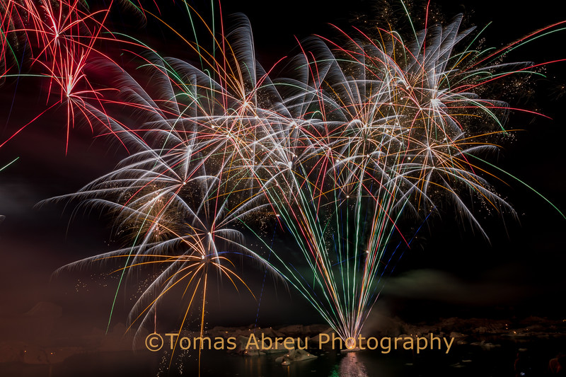Fireworks at Jokulsarlon Ice Lagoon, Iceland