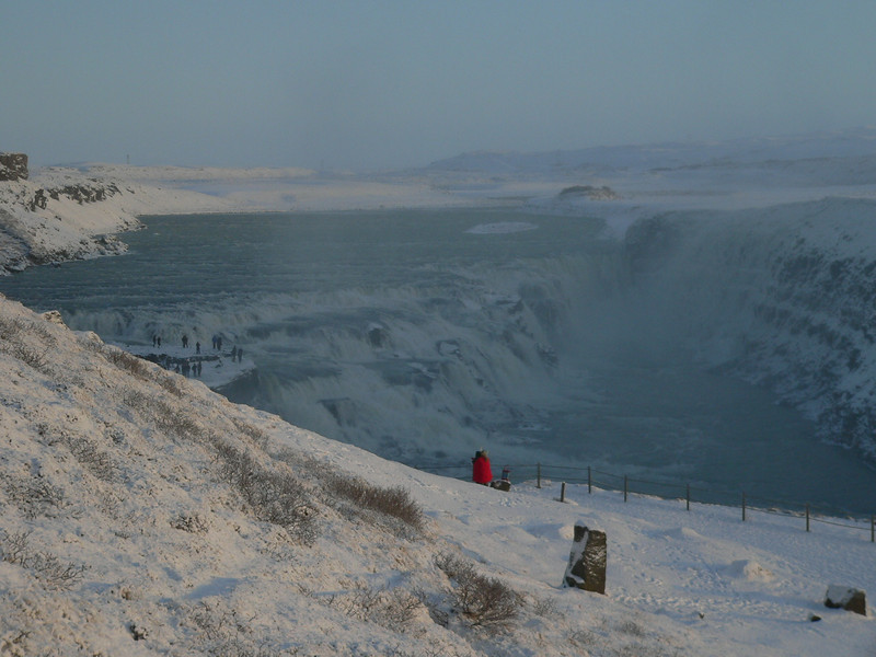 Gullfoss. Even in the middle of winter, tour busses bring sightseers by the hundreds to watch the waterfall. Oh! Ah! Get out of my picture, you tourists!!!!
