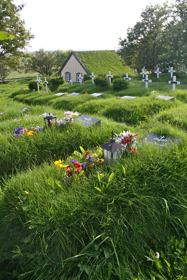 Turf house Church.  These are all raised graves with flower gardens planted on them.