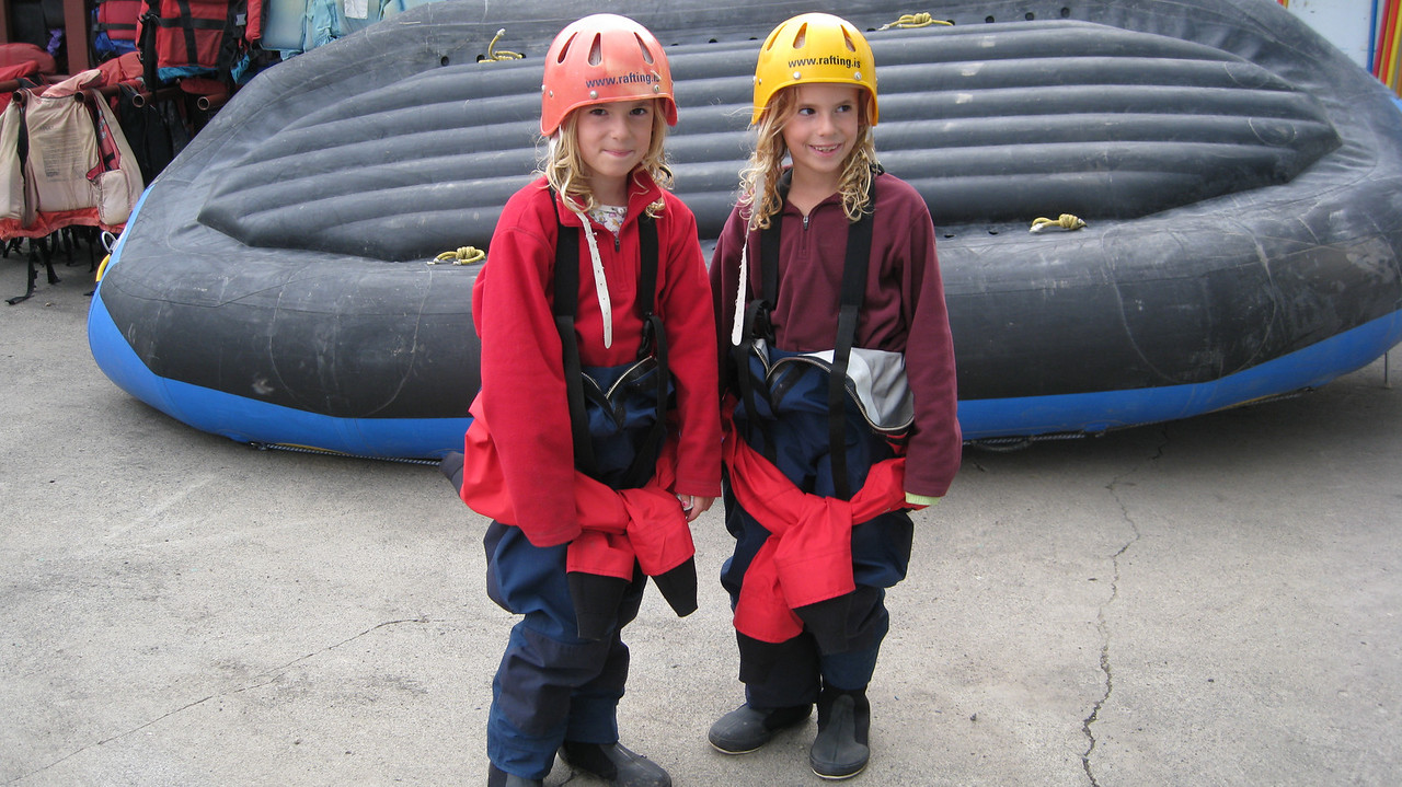 Violet and Juliet in their drysuits. How cute!!
