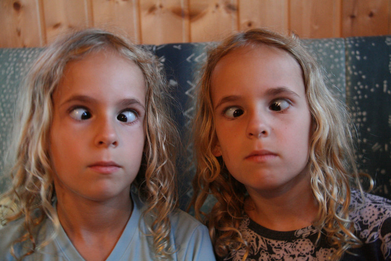 My twin nieces Juliet and Violet. They tried to teach me (just hold your finger in front of your nose..), but I don't have this skill !