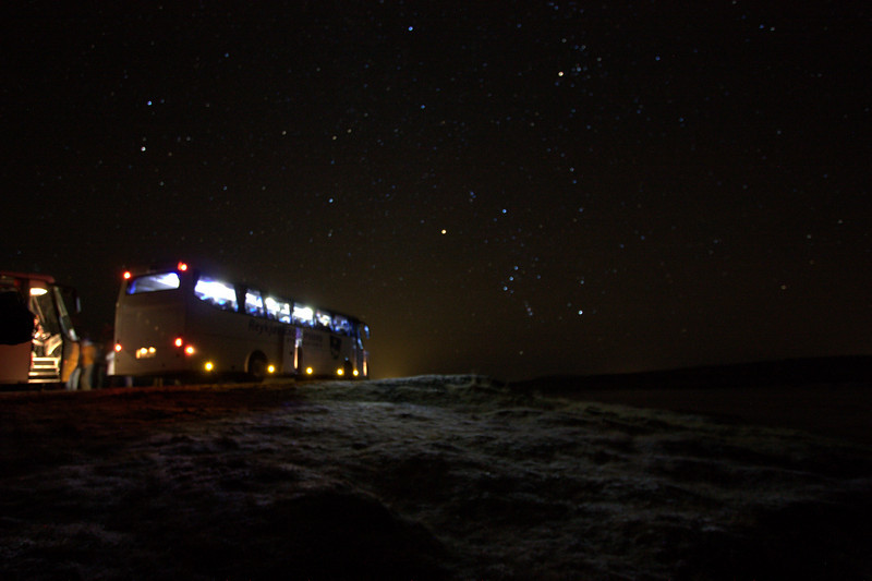 bus loads of visitors waiting for a glimpse of Aurora Borealis