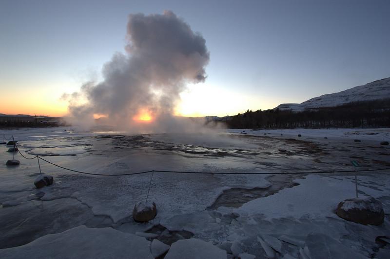 Geysir against sunset