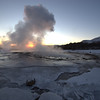 Geysir against sunset