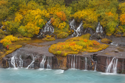 Fall colors at Barnafoss Falls