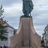 A closer view of the statute of Leifur Eiriksson.