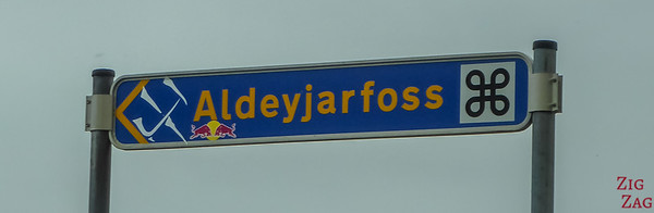 Aldeyjarfoss Location road sign