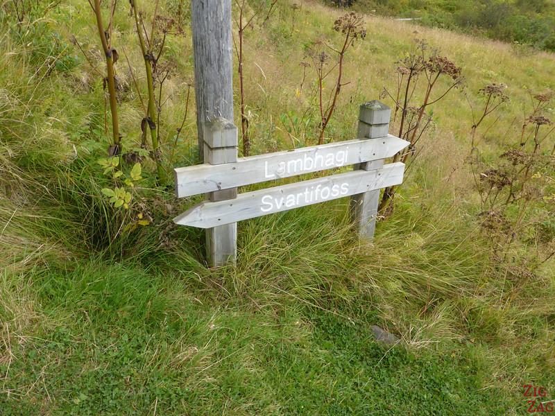 Wanderung Svartifoss Schild
