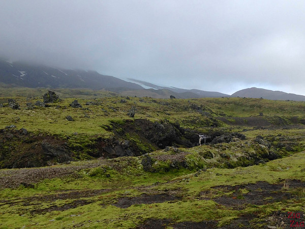 Green landscape on road F570, Snaefellsjokull