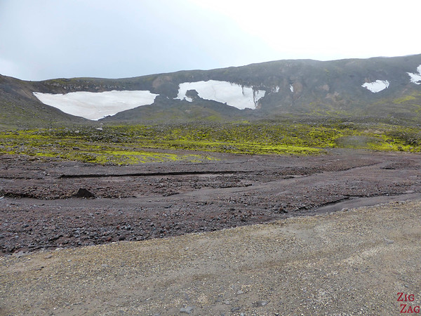 patches of snow on road F570, Snaefellsjokull