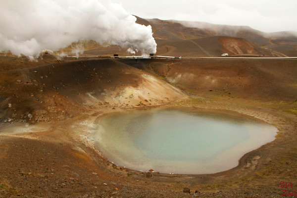 Second lake at Viti crater, North Iceland