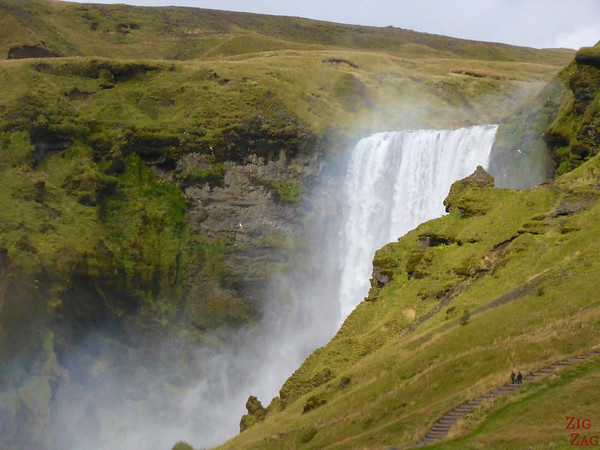 Hiking trail at Skogafoss waterfall Iceland