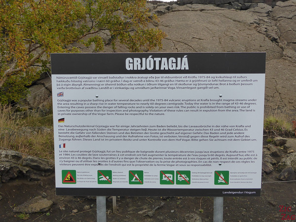 Entrance sign Grjotagja