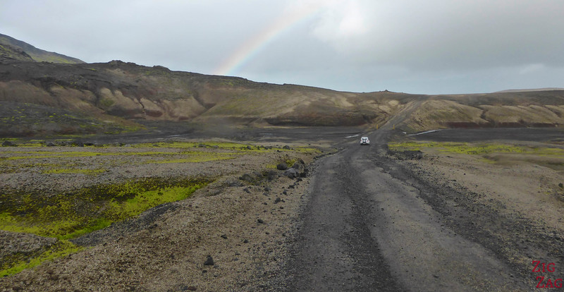 Spotting a rainbow on road F570, Snaefellsjokull