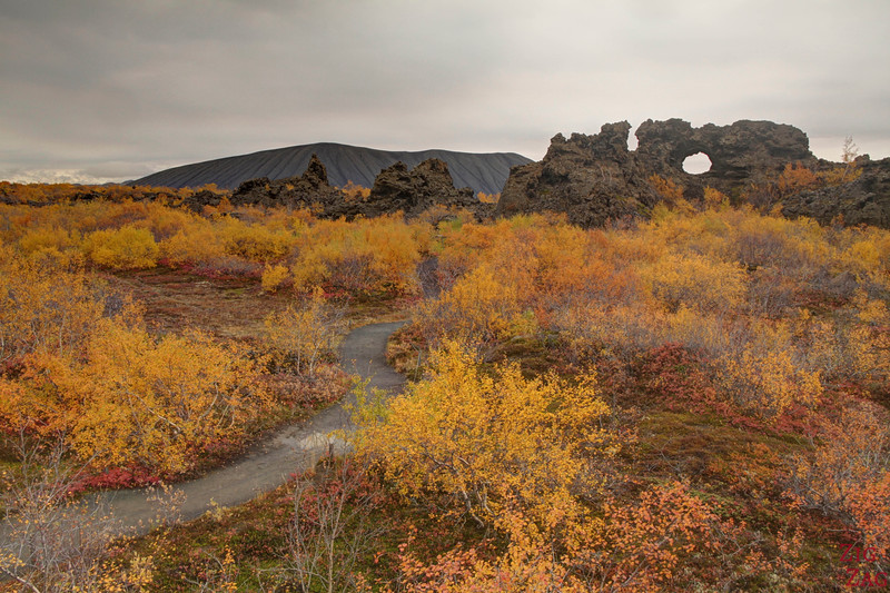 Vue sur Hverfjall depuis Dimmuborgir