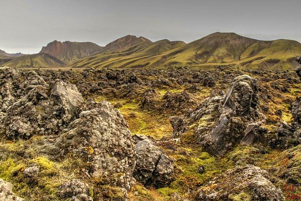 Laugarhaun lava filed approaching Landmannalaugar, Iceland
